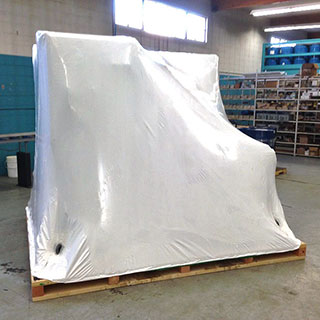 White industrial poly wrap